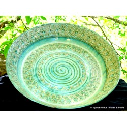 Custom large wheel-thrown stoneware bowl or plate