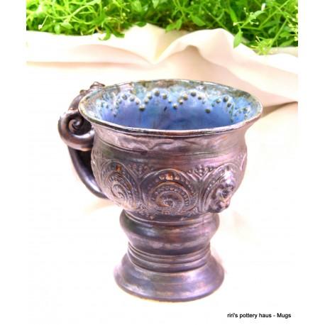 Custom sculptural mermaid cameo wheel-thrown stoneware handled chalice!