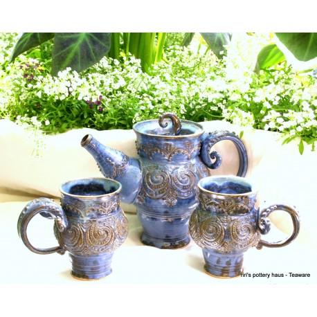 Custom triple-banded wheel-thrown stoneware tea set for two!