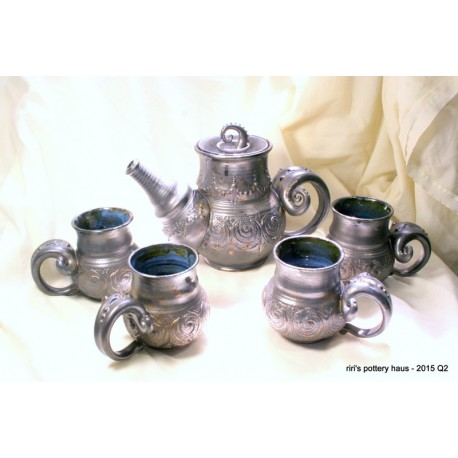 Custom triple-banded wheel-thrown stoneware tea set for four!