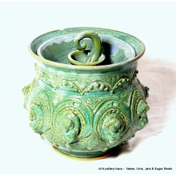 Custom wheel-thrown stoneware lidded sugar bowl!