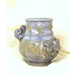 Custom large mermaid sculptural double-banded wheel-thrown stoneware mug!