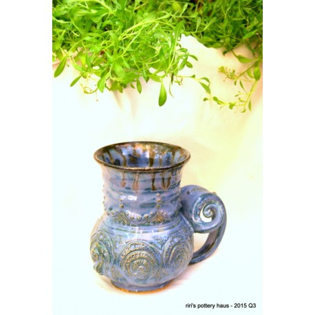 Custom medium mermaid cameo sculptural double-banded wheel-thrown stoneware mug!